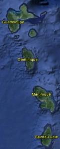 Trajet des Saintes à Sainte-Lucie (image Google Earth)