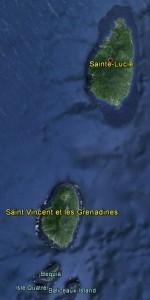 Trajet de Sainte-Lucie à Bequia (image Google Earth)